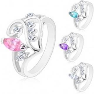 Prsteň s rozdelenými ramenami, ornament so zrnkom a čírymi zirkónikmi - Veľkosť: 49 mm, Farba: Ružová