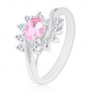Prsteň v striebornom odtieni, ružový zirkónový ovál, číre oblúky - Veľkosť: 51 mm
