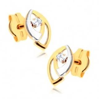 Puzetové náušnice v 9K zlate - dvojfarebné obrysy zrniečok, číry zirkónik