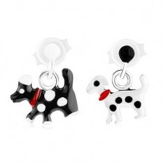 Puzetové strieborné náušnice 925, visiaci psík s bodkami a obojkom - Farba: Biela