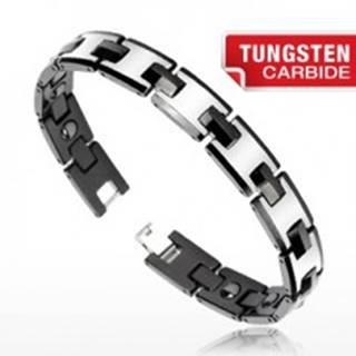 Tungstenový magnetický náramok - strieborná a čierna farba, lesklé články