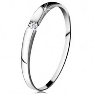 Zásnubný prsteň z bieleho 14K zlata - zirkón čírej farby, jemne vypuklé ramená - Veľkosť: 47 mm