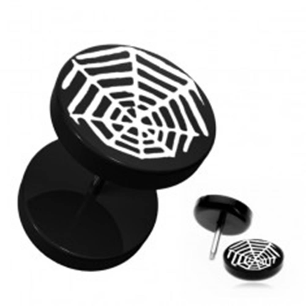Šperky eshop Čierny okrúhly fake plug do ucha - akrylový, pavúčia sieť
