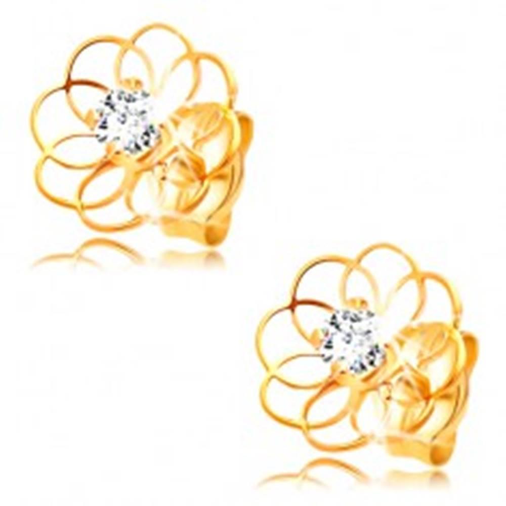 Šperky eshop Diamantové náušnice zo žltého 14K zlata - kontúra kvietku s briliantom