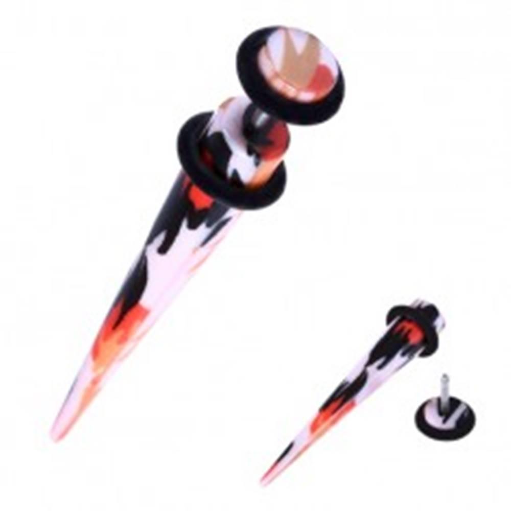 Šperky eshop Falošný expander do ucha z akrylu - oranžovo-čierne škvrny