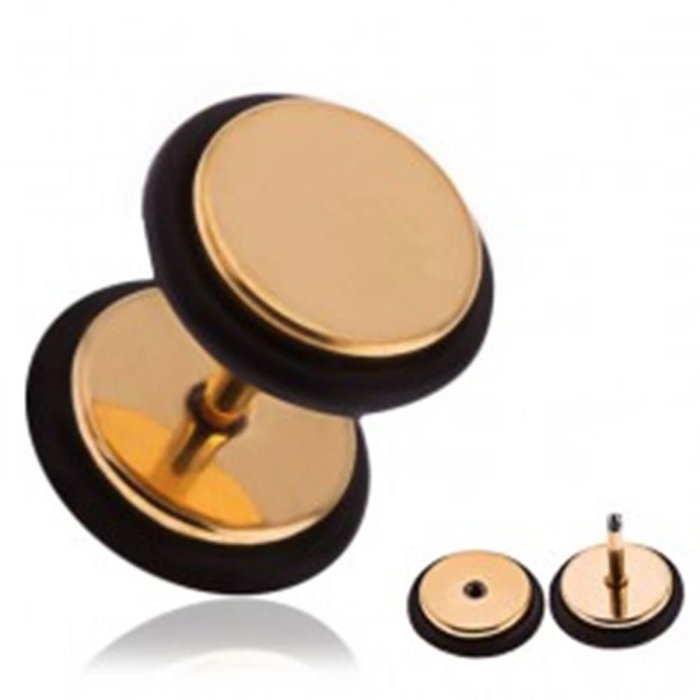 Šperky eshop Falošný oceľový piercing do ucha zlatej farby, gumičky