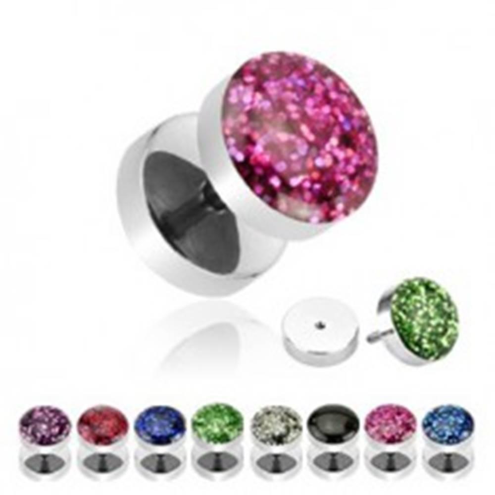 Šperky eshop Falošný piercing do ucha - trblietavý, vypuklý - Farba: Aqua - svetlá