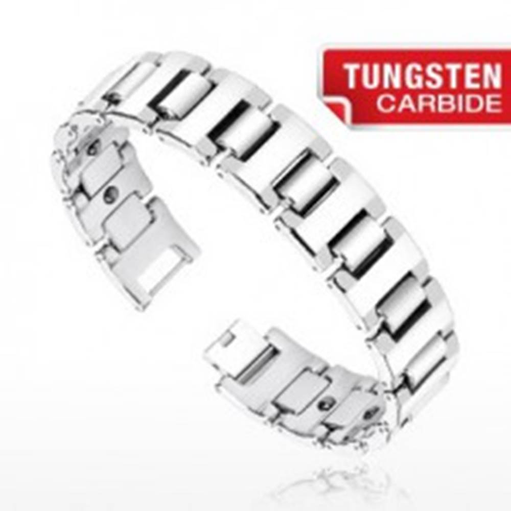 Šperky eshop Magnetický wolfrámový náramok - široké H články striebornej farby