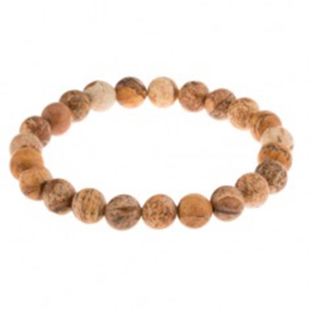 Šperky eshop Náramok na ruku - guľaté korálky z hnedého jaspisu, priesvitná gumička