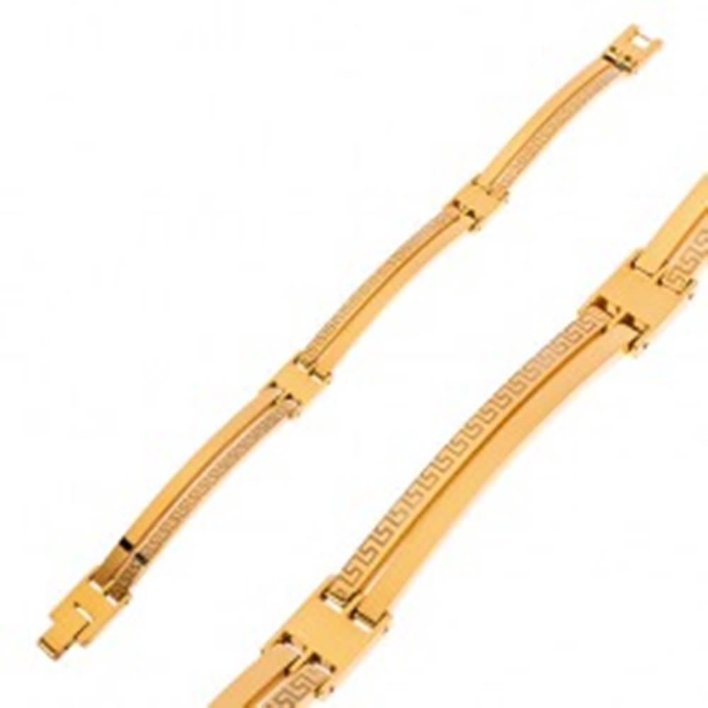 Šperky eshop Náramok z chirurgickej ocele zlatej farby, úzke články, grécky kľúč