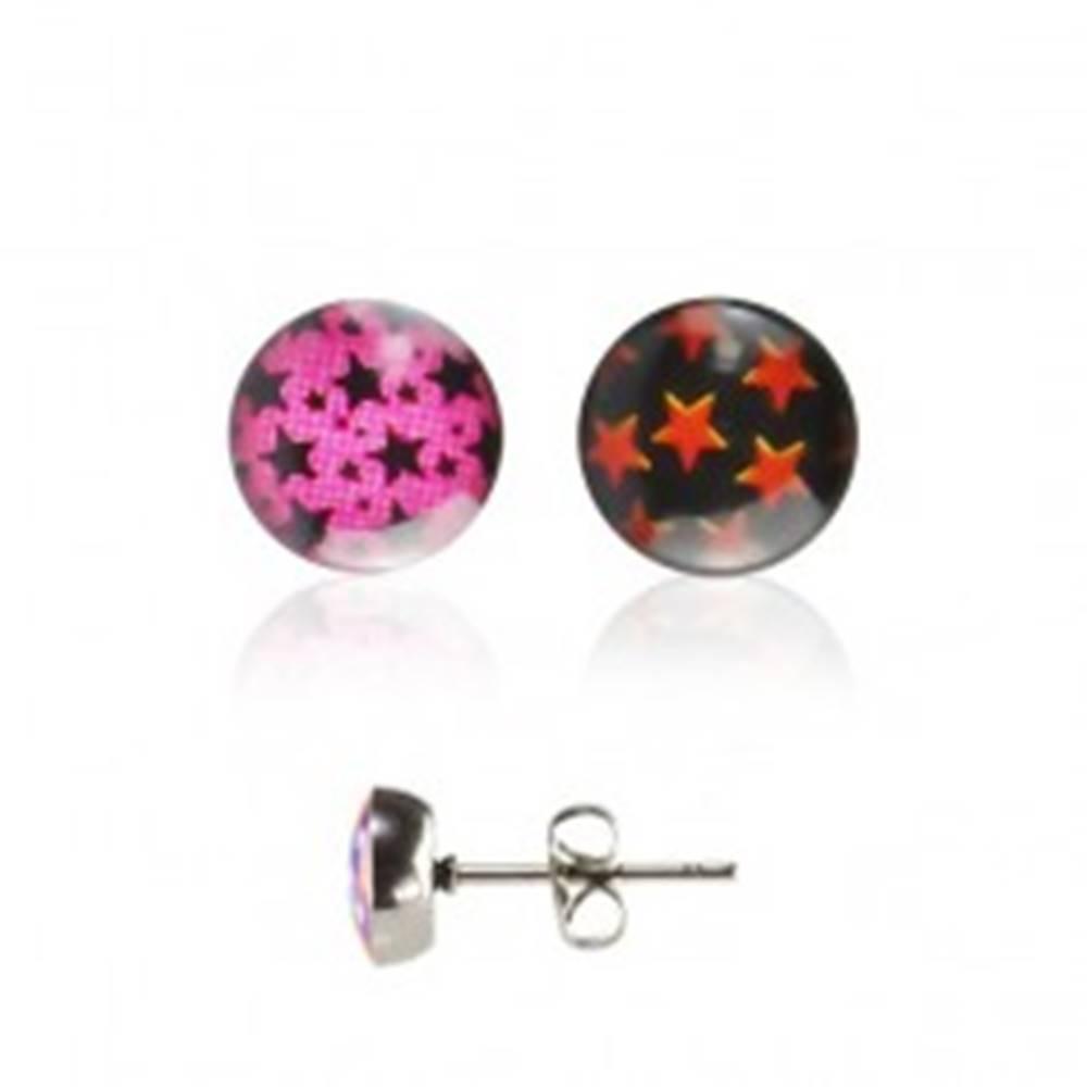 Šperky eshop Oceľové náušnice - hviezdičky - Farba: Čierna - Červená