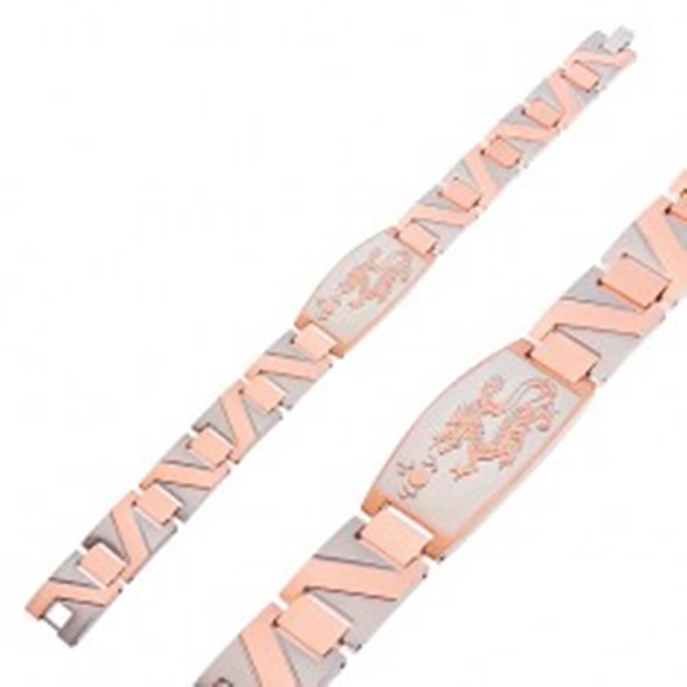 Šperky eshop Oceľový náramok s čínskym drakom a cik-cak pruhom medenej farby