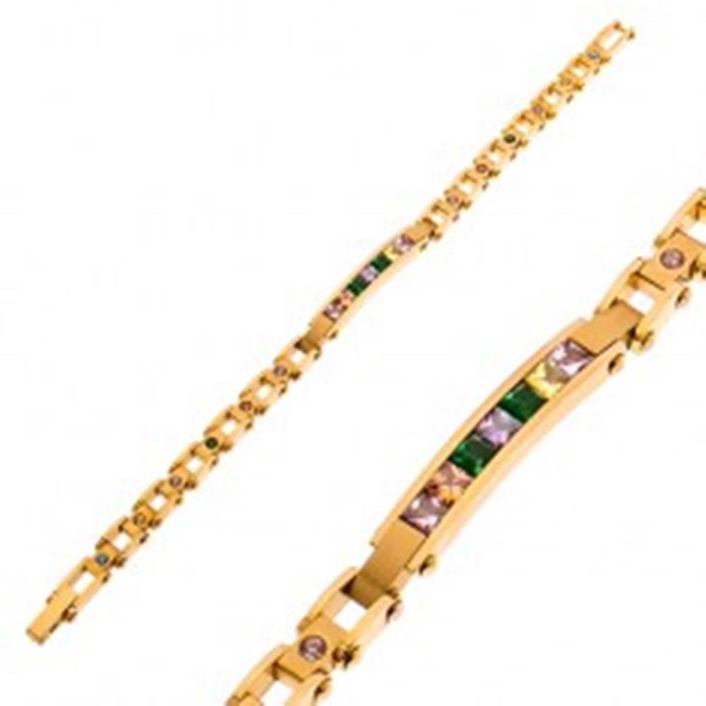 Šperky eshop Oceľový náramok v zlatom odtieni, úzka známka a farebné zirkóny