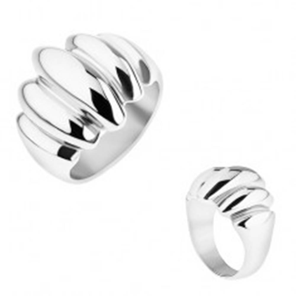 Šperky eshop Oceľový prsteň striebornej farby, zrkadlový lesk, vypuklé ovály - Veľkosť: 57 mm