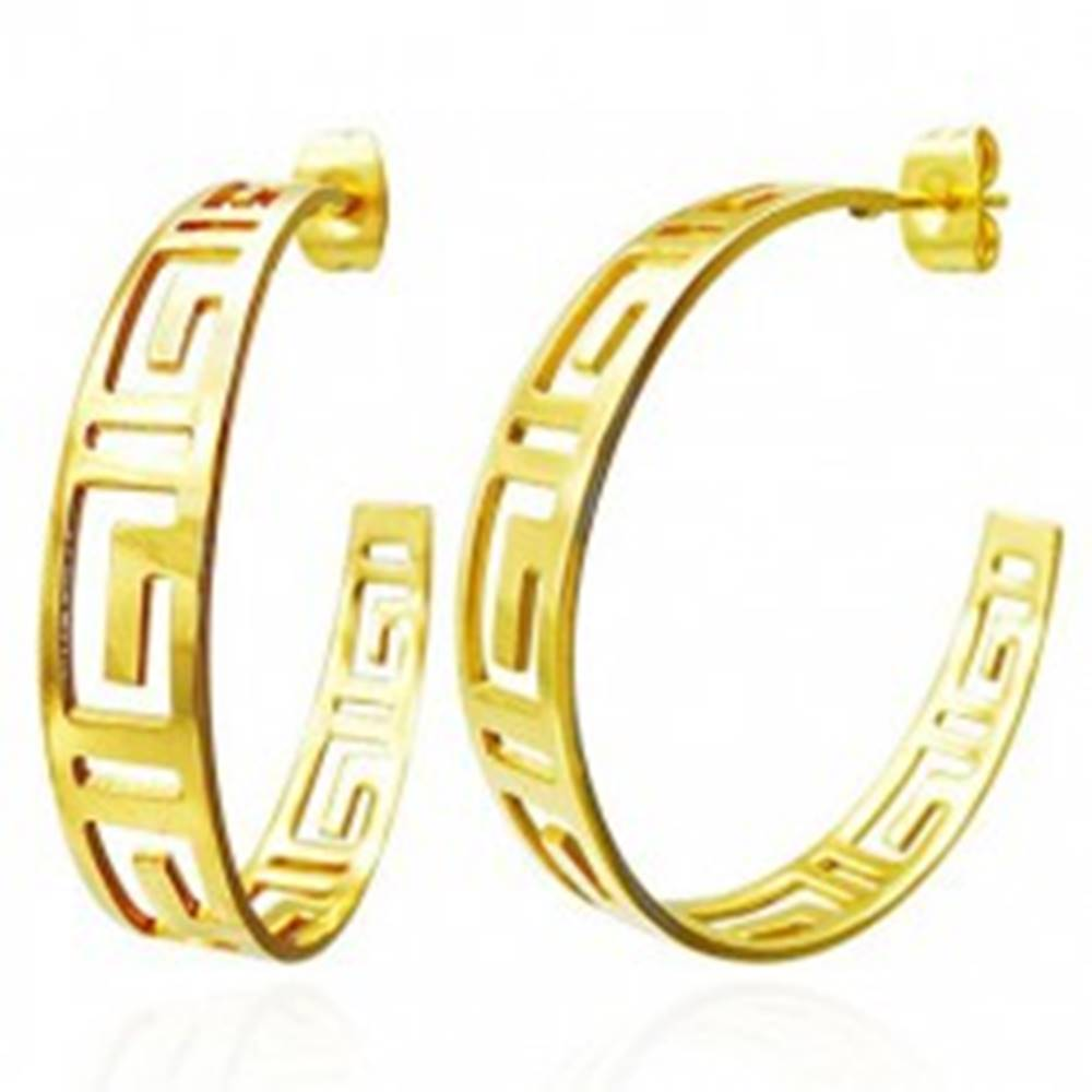 Šperky eshop Okrúhle náušnice zlatej farby - vyrezávaný grécky symbol