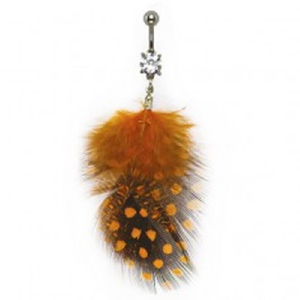 Šperky eshop Piercing do bruška čiernooranžové pierka