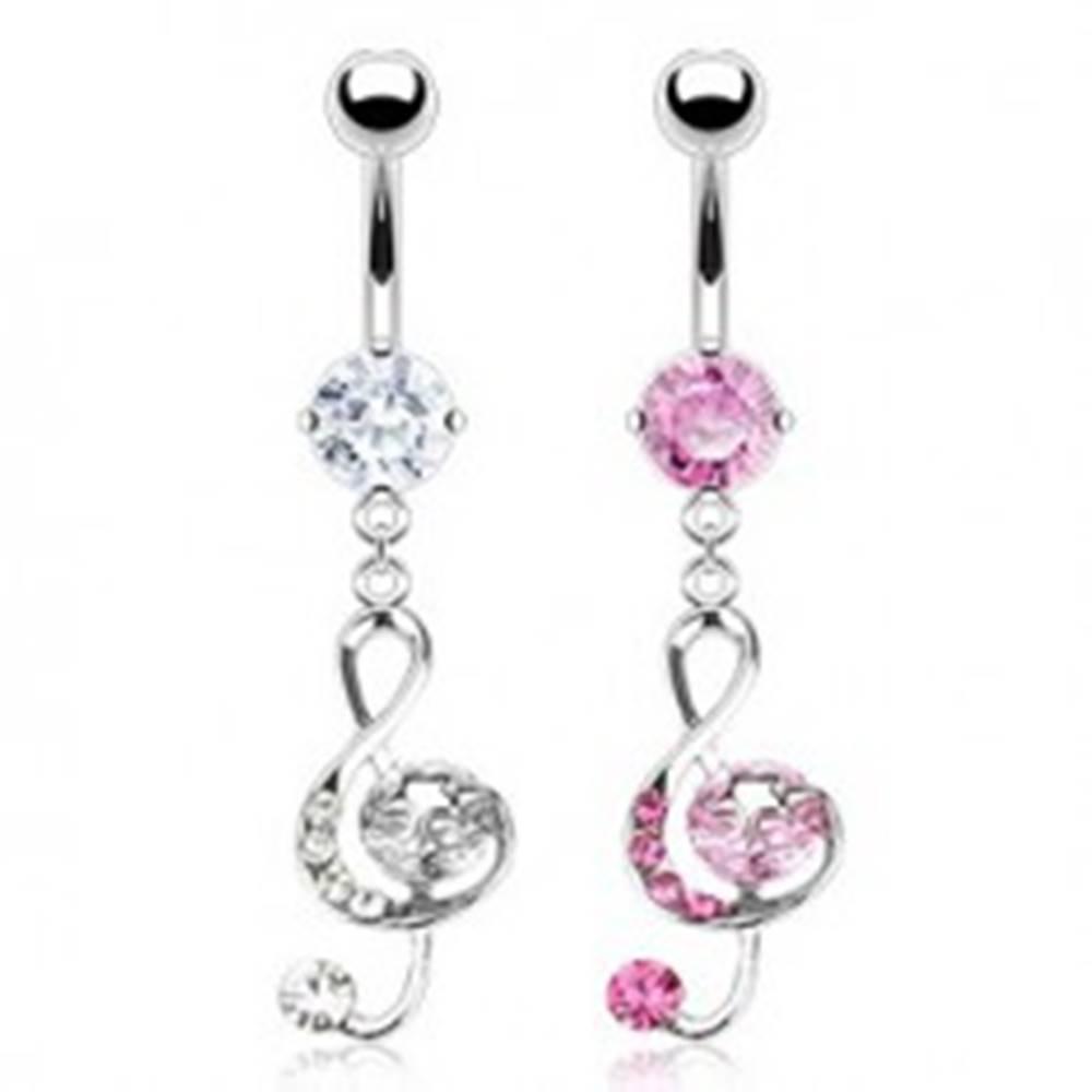 Šperky eshop Piercing do pupku - husľový kľúč a zirkóny - Farba zirkónu: Číra - C