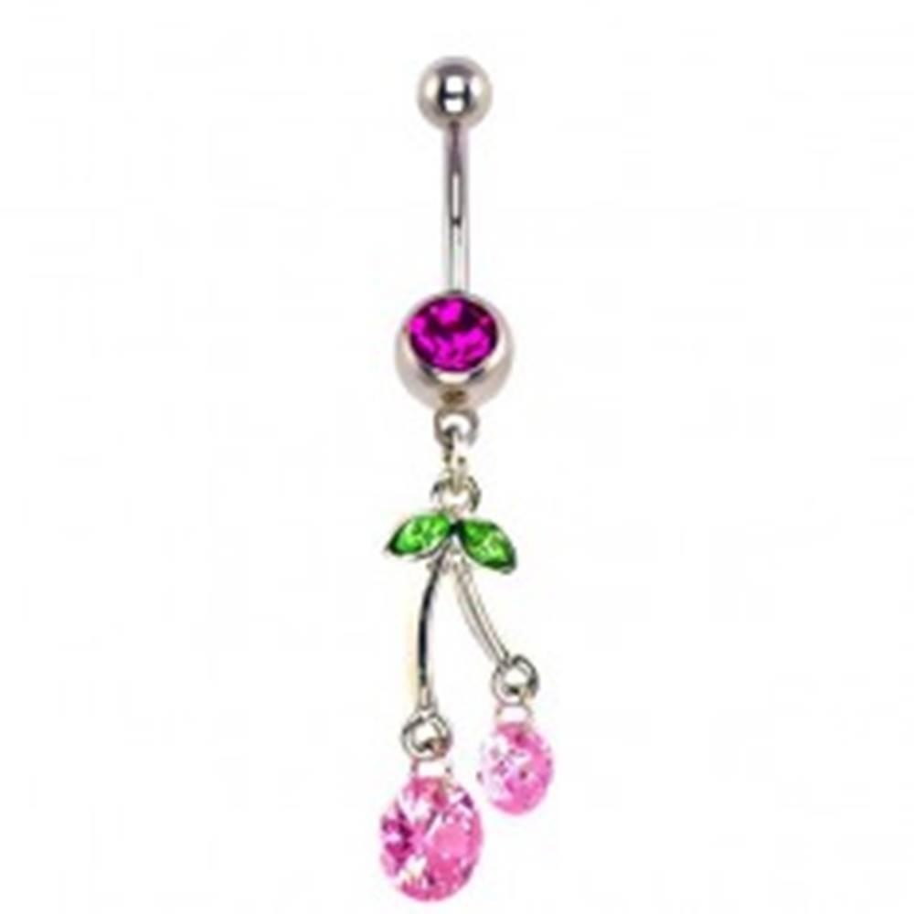 Šperky eshop Piercing do pupku - visiace ružové čerešne, zirkóny