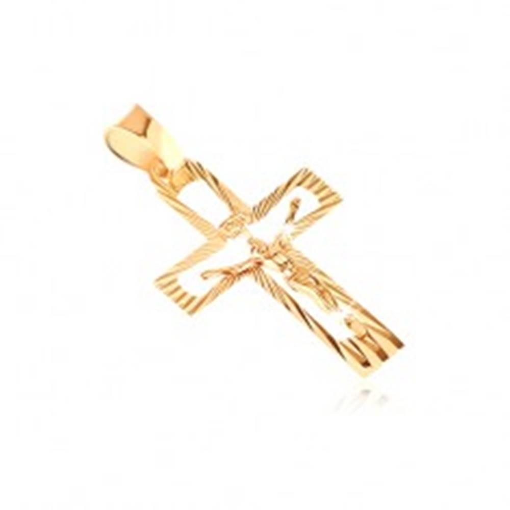 Šperky eshop Prívesok zo 14K zlata - vykrojený kríž s Kristom a lesklými lúčmi