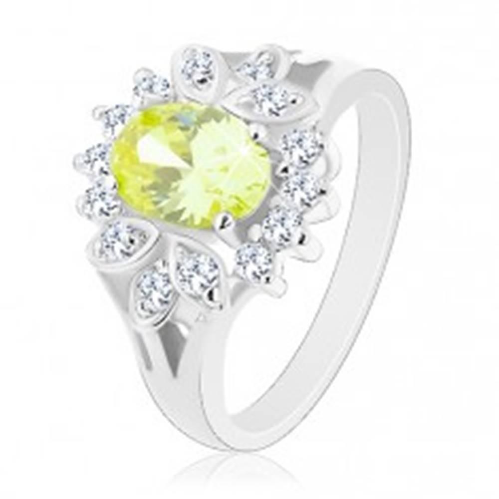 Šperky eshop Prsteň s rozdelenými ramenami, svetlozelený oválny zirkón, číry lem - Veľkosť: 51 mm