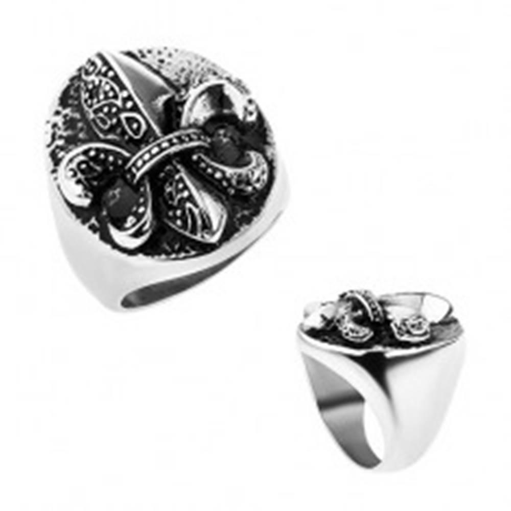 Šperky eshop Prsteň z ocele, Fleur de Lis v ovále, strieborná farba, patina - Veľkosť: 57 mm