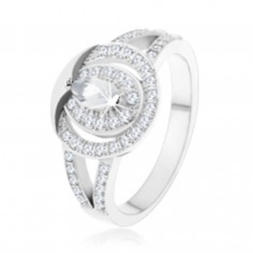 Šperky eshop Strieborný prsteň 925, číra zirkónová obruč so zrnkovým zirkónom v strede - Veľkosť: 48 mm