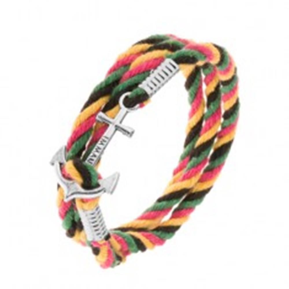 Šperky eshop Štvorfarebný pletený náramok na obtočenie okolo ruky, lodná kotva s nápisom