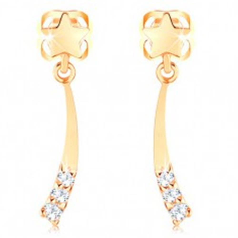 Šperky eshop Zlaté náušnice 585 - lesklá kométa zdobená čírymi diamantmi