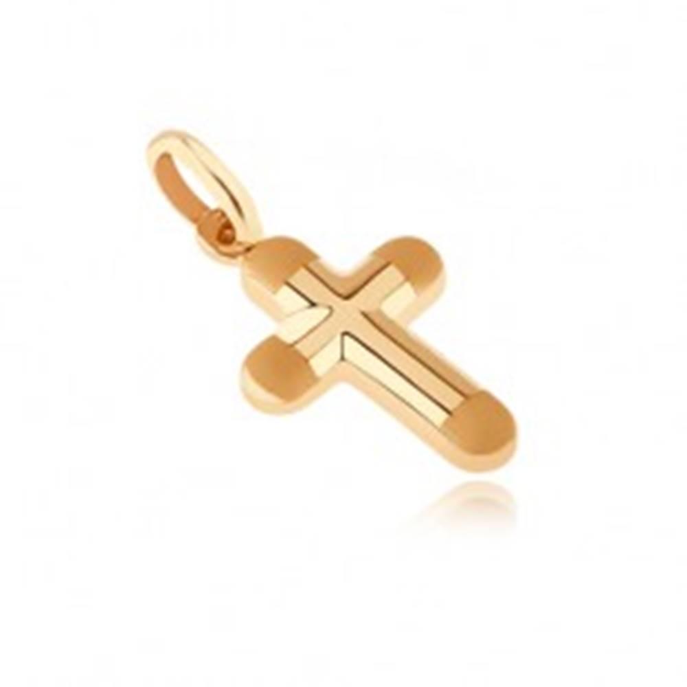 Šperky eshop Zlatý prívesok 585 - hrubý krížik s matnými okrúhlymi koncami cípov