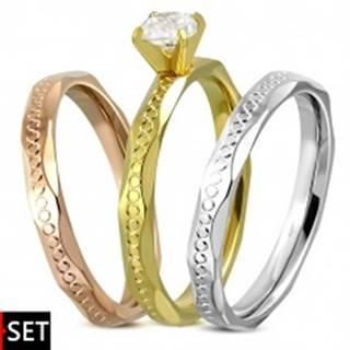 Sada prsteňov z chirurgickej ocele - strieborná, medená a zlatá farba, zirkón - Veľkosť: 52 mm