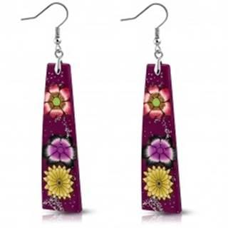 Náušnice z hmoty Fimo - fialové obdĺžniky, kvety a trblietky