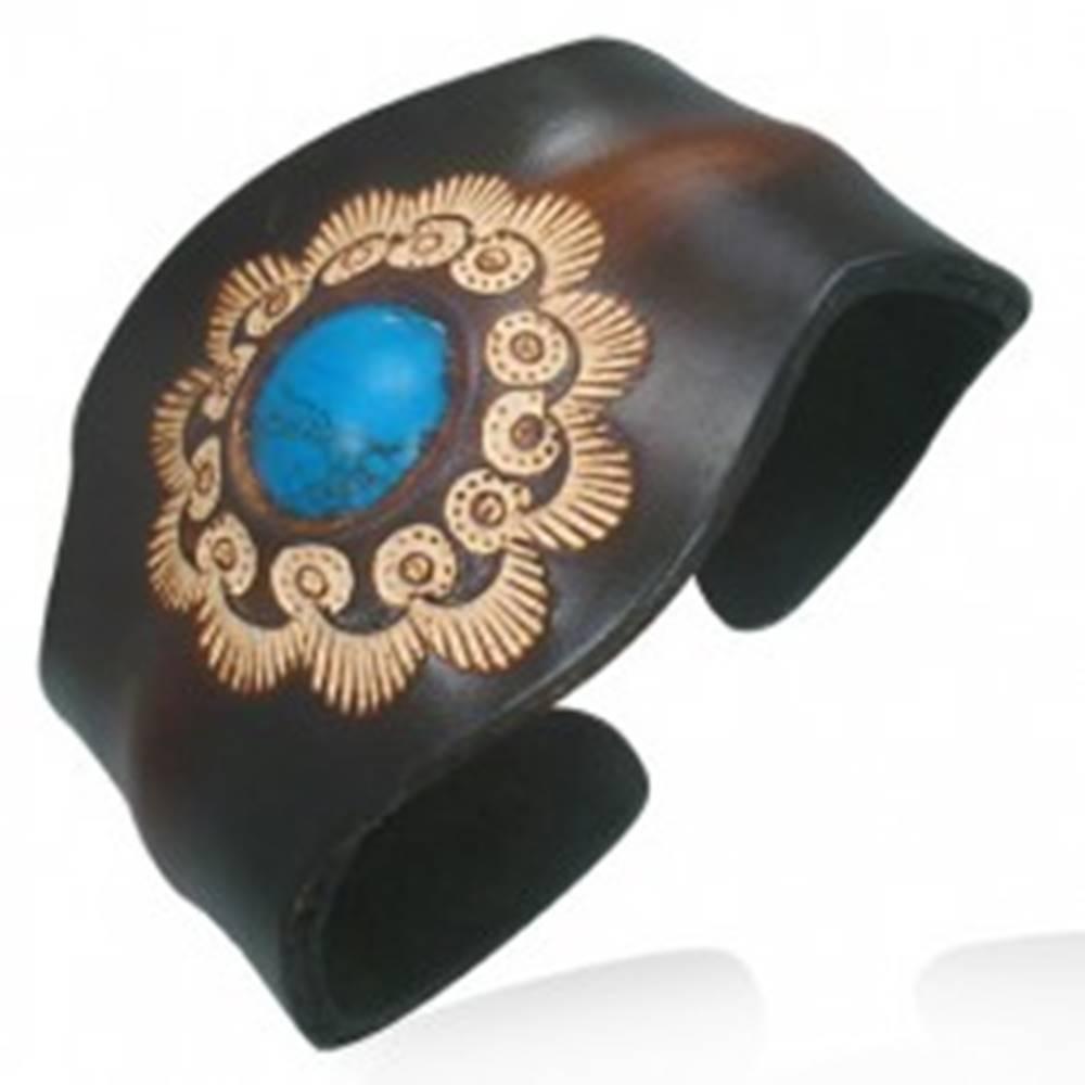 Šperky eshop Kožený náramok - ohybný, slnečnica, tyrkysová gulička