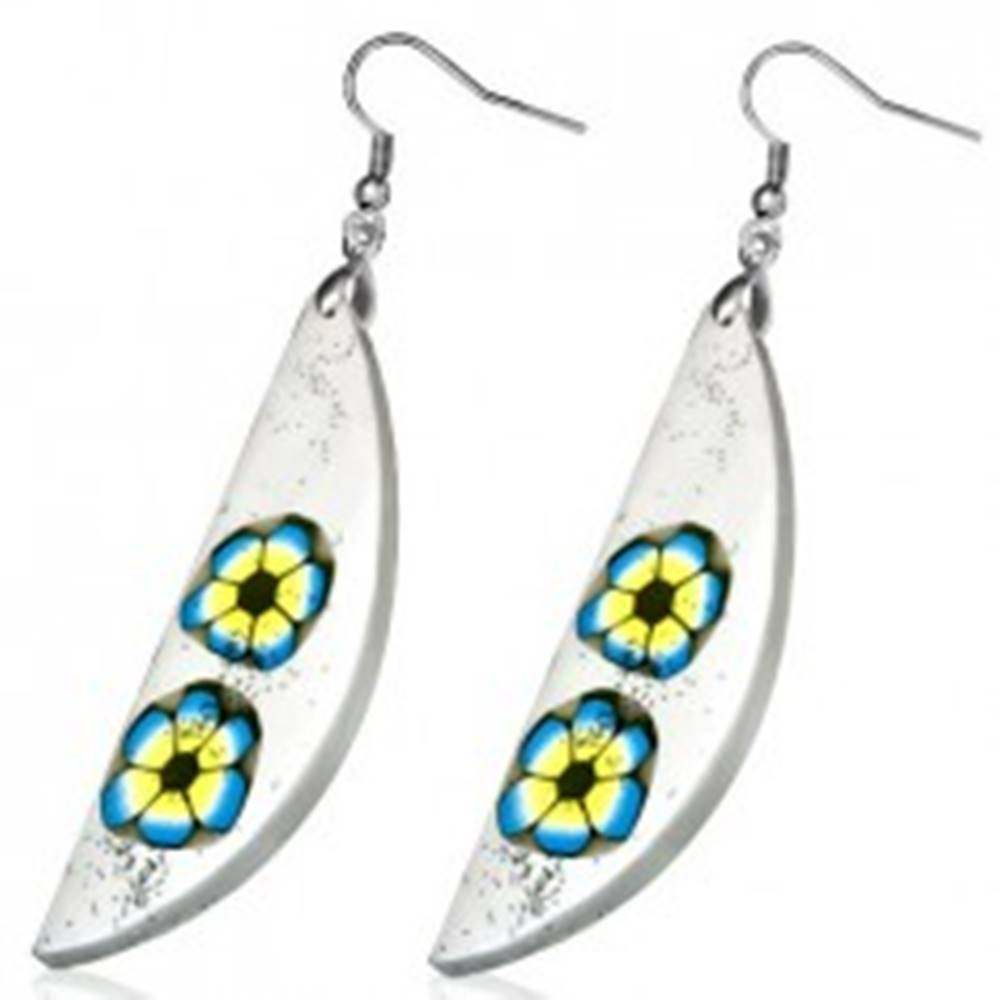 Šperky eshop Náušnice z materiálu FIMO - biela slza, dva farebné kvety, trblietky