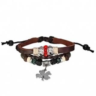 Kožený náramok - prepletané šnúrky, červený zirkónový prstenec, štvorlístok