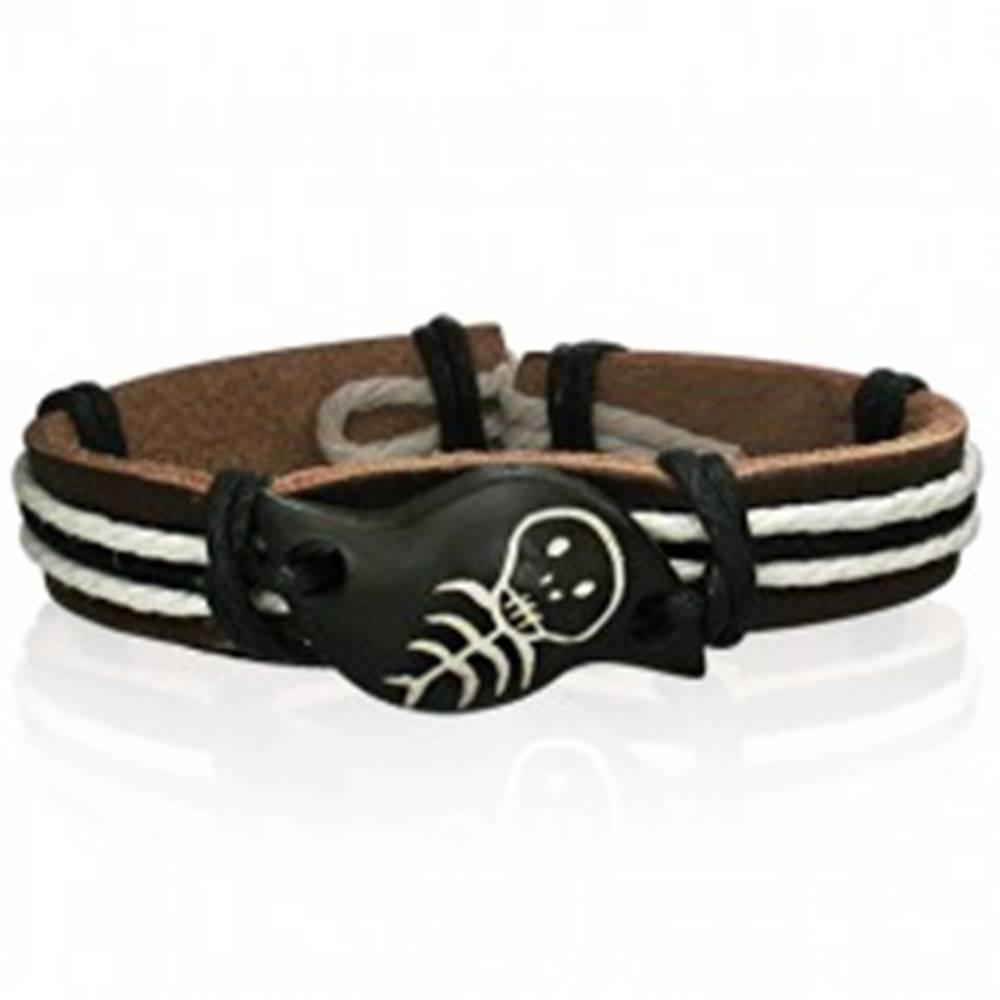 Šperky eshop Hnedý kožený náramok, zvlnená kostená známka s kostričkou