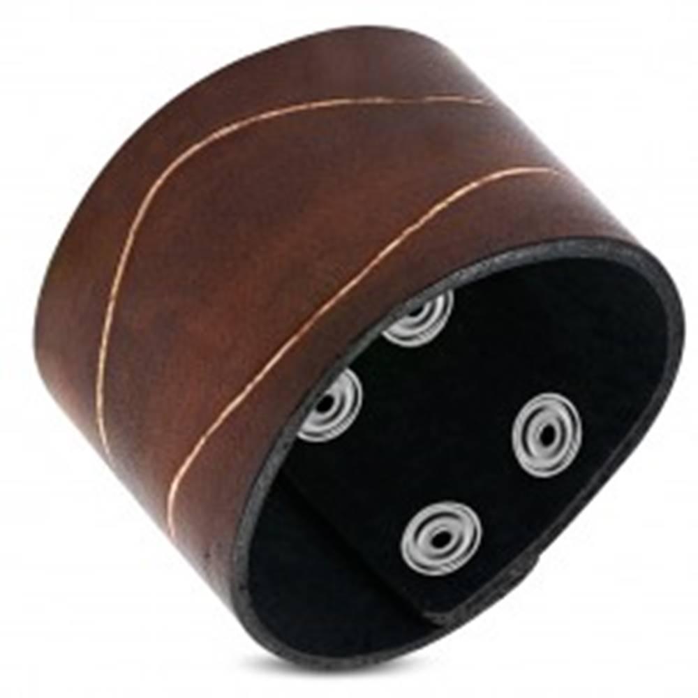 Šperky eshop Náramok z hladkej syntetickej kože - ozdobný zárez, hnedá farba