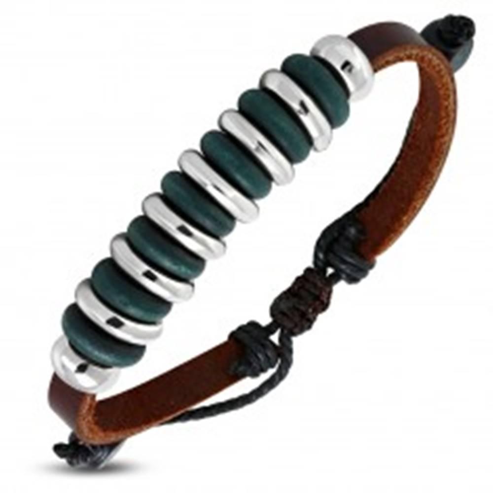 Šperky eshop Náramok z koženky - korálky zelenomodrej a striebornej farby