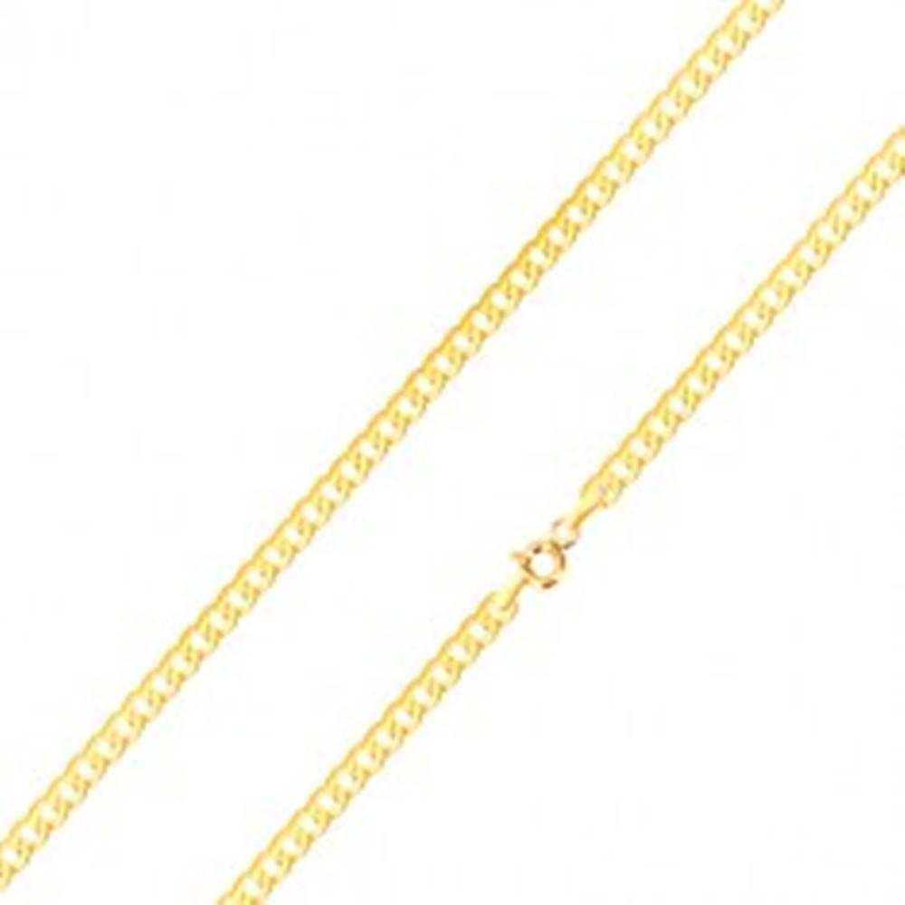 Šperky eshop Lesklá retiazka v žltom 14K zlate - ploché, sériovo napájané očká, 500 mm