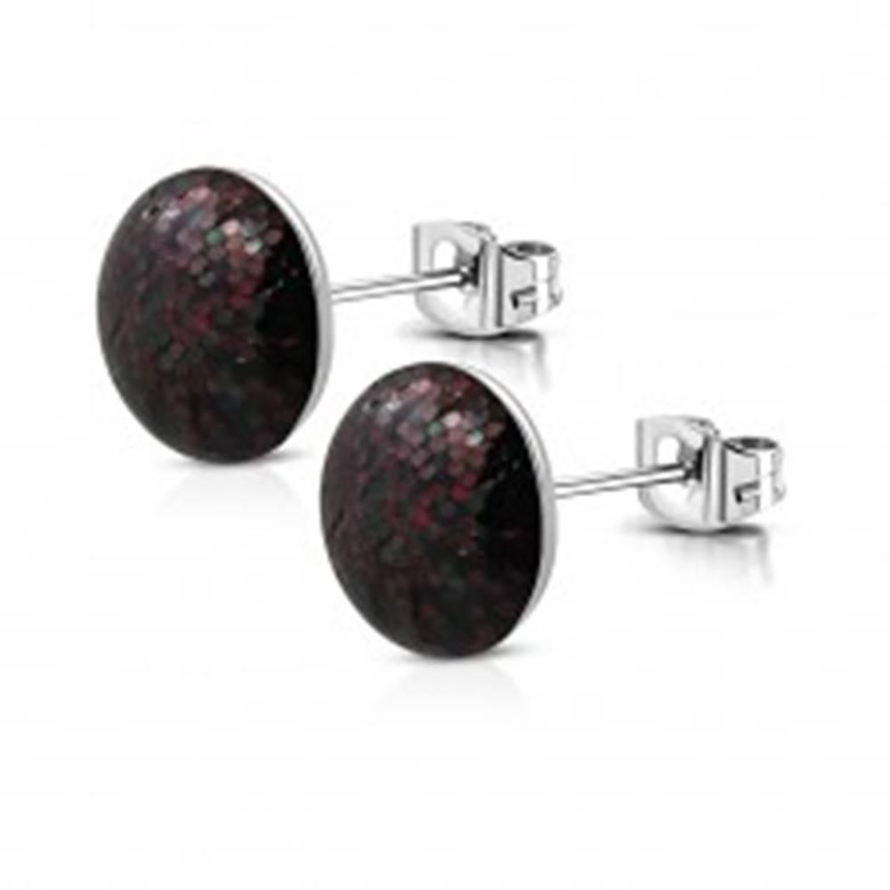 Šperky eshop Puzetové náušnice z ocele - čierny krúžok, bordové a tmavozelené trblietky