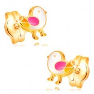 Náušnice zo žltého zlata 14K - vtáčik zdobený bielou, ružovou a žltou glazúrou