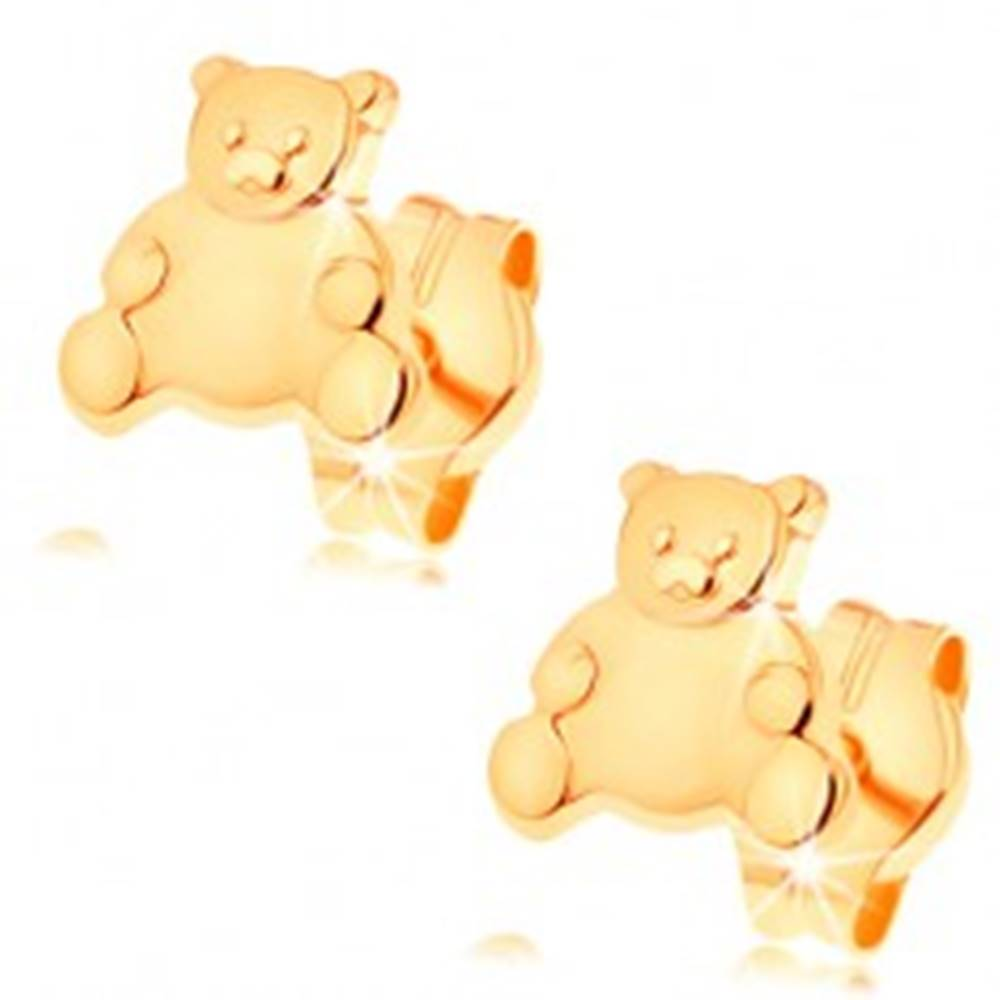 Šperky eshop Zlaté náušnice 585 - roztomilý medvedík s lesklým hladkým bruškom