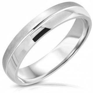 Prsteň z nehrdzavejúcej ocele, matný a lesklý pás, stredový zárez - Veľkosť: 47 mm