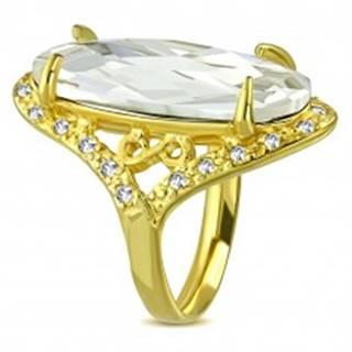 Mohutnejší prsteň zlatej farby z ocele - číry brúsený zirkón, symbol nekonečna - Veľkosť: 52 mm