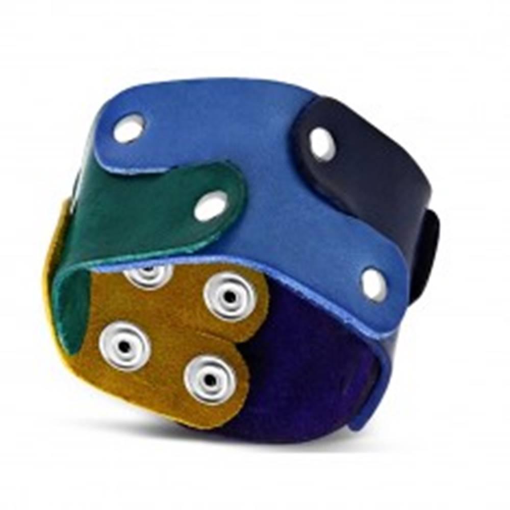 Šperky eshop Náramok z pravej kože - puzzle dieliky spájané nitmi, dúhové farby, PRIDE