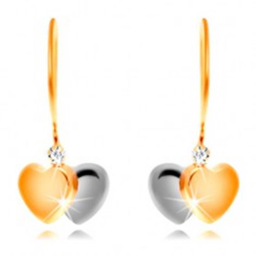 Šperky eshop Náušnice zo 14K zlata - dvojfarebné srdiečka a číry zirkón na háčiku