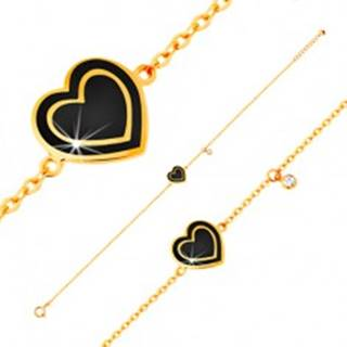 Náramok zo žltého zlata 585, prívesky - zirkónik a srdce s čiernou glazúrou