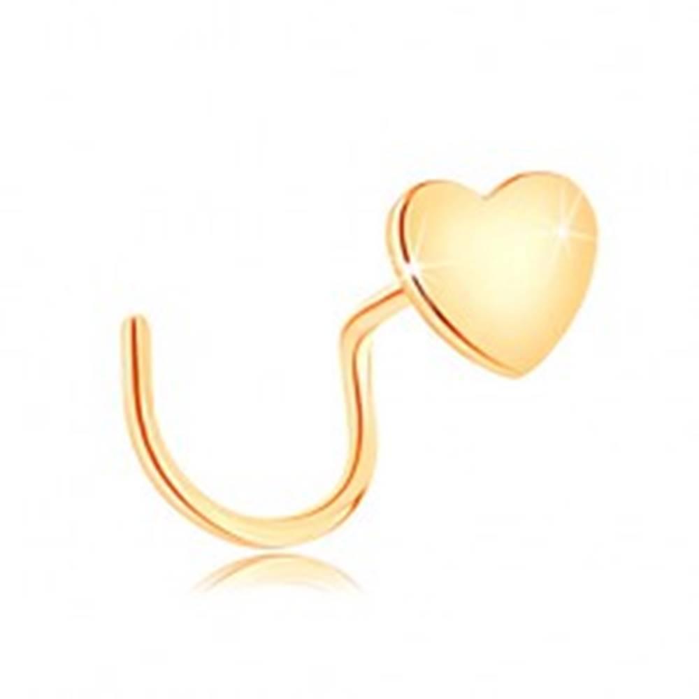Šperky eshop Piercing do nosa v žltom 14K zlate, zahnutý - malé ploché srdiečko