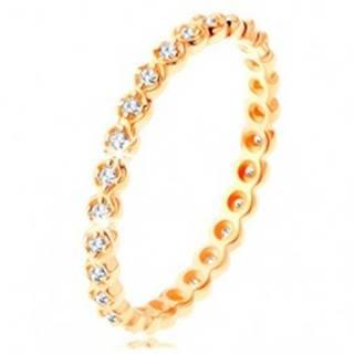 Zlatý prsteň 375 - okrúhle číre zirkóniky po celom obvode, zvlnené okraje - Veľkosť: 49 mm
