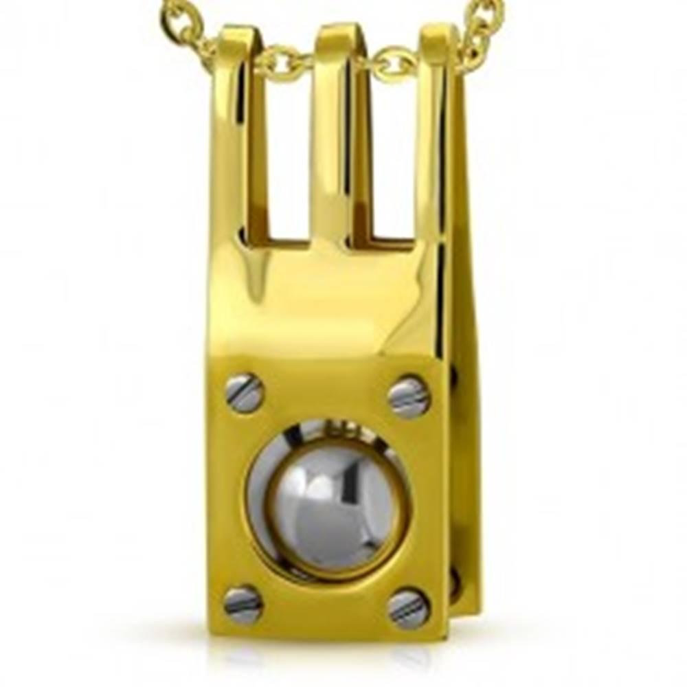 Šperky eshop Oceľový prívesok s nitmi a oceľovou guličkou