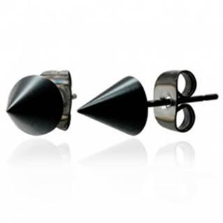 Lesklé čierne náušnice v tvare kužeľa z chirurgickej ocele, 6 mm